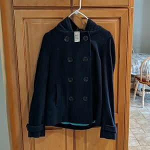 Blue pea coat with hood